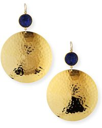 Devon Leigh - Lapis Hammered-disc Drop Earrings - Lyst