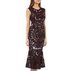 JS Collections - Sleeveless Embroidered Soutache Midi Dress With Flounce Hem - Lyst
