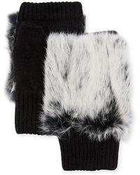 Adrienne Landau - Knit Fingerless Gloves W/ Rabbit Fur Trim - Lyst