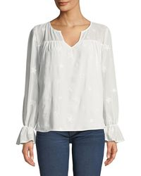 Philosophy - Star-embroidered Bell-cuff Sleeve Blouse - Lyst