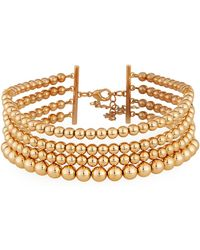 Lydell NYC - Multi-row Golden Ball Choker Necklace - Lyst
