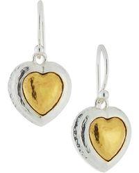 Gurhan | Romance Two-tone Heart Drop Earrings | Lyst