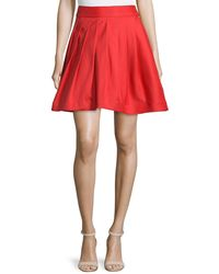 Halston Heritage | Flared Mini Skirt W/pleats | Lyst