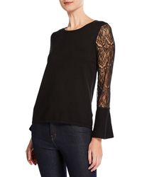 Neiman Marcus - Lace-sleeve Pullover Sweater - Lyst