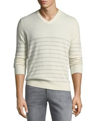 Brunello Cucinelli - Cashmere Striped V-neck Sweater - Lyst