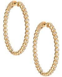 14k Gold Diamond Bezel Hoop Earrings 1tcw