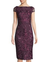 Marina - Sequin Floral Embroidered Sheath Dress - Lyst