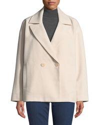 NYDJ - Double-breasted Tweed Pea Coat - Lyst