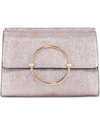 MILLY - Metallic Ring Flap Clutch Bag - Lyst