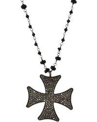 Bavna - Long Black Spinel & Diamond Maltese Pendant Necklace - Lyst