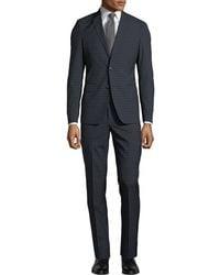 Neiman Marcus - Men's Windowpane Wool-twill Two-piece Suit Black/blue - Lyst