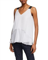 Brunello Cucinelli - V-neck Sleeveless Chiffon Top With Sheer Layers - Lyst
