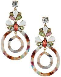 Fragments - Double Hoop-drop Earrings W/ Crystals - Lyst