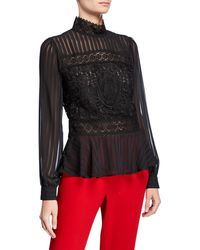 Romeo and Juliet Couture - Shadow Stripe And Lace Peplum Blouse - Lyst