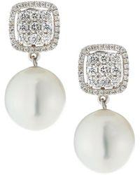 Belpearl - 18k White Gold Diamond-post & South Sea Pearl Earrings - Lyst