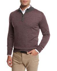 Peter Millar - Trichrome-stripe Wool-silk-cashmere Quarter-zip Pullover - Lyst