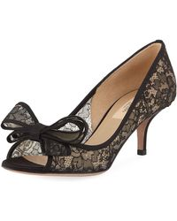 Valentino - Peep-toe Bow-front Lace 60mm Pumps - Lyst
