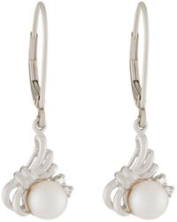 Belpearl - 14k White Akoya Pearl & Diamond Drop Earrings - Lyst