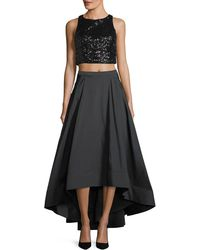 Aidan Mattox - Two-piece Sequin Crop Top & Taffeta Ball Skirt - Lyst
