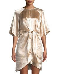 Laundry by Shelli Segal - Flutter-sleeve Tie-draped Satin Dress - Lyst