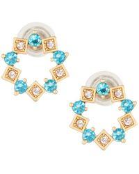 Fragments - Crystal Hoop Stud Earrings - Lyst