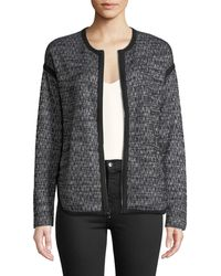 Three Dots - Tipped Tweed Zip-front Jacket - Lyst