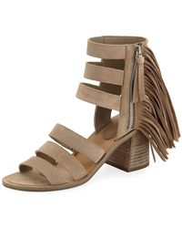 5bcf3d5b6 Sam Edelman Aisha Fringed Leather Sandals in Orange - Lyst
