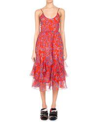 Pascal Millet - Floral-print Chiffon Ruffle-hem Midi Dress Orange - Lyst