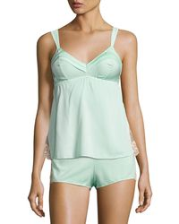Underella By Ella Moss - Lace-inset Babydoll Tank Light Green - Lyst