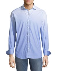 Bugatchi - Shaped Fit Dotted Ombre Sport Shirt. Blue - Lyst
