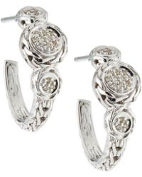 John Hardy - Sterling Silver & Diamond Pavé Hoop Earrings - Lyst
