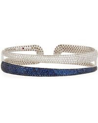 Roberto Coin - 18k White Gold Scalare Two-tone Pave Bangle - Lyst