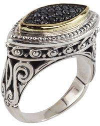 Konstantino - Asteri Horizontal Ring W/ Pave Black Diamond Marquise Center - Lyst