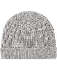 Neiman Marcus - Cashmere Ribbed Cuffed Beanie Hat - Lyst