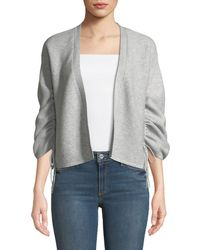 Neiman Marcus - Cashmere Gathered-sleeves Ribbed Cardigan - Lyst