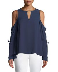 6454ec43c2d58 Lyst - Michael Michael Kors Embellished Neck Draped Top in Red