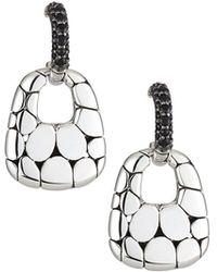 John Hardy - Kali Silver Lava Drop Earrings W/ Black Sapphires - Lyst