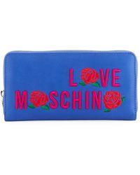 Love Moschino - Logo-embroidered Zip Wallet - Lyst