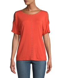 Carmen By Carmen Marc Valvo - Dome-studded Cold-shoulder Tee - Lyst