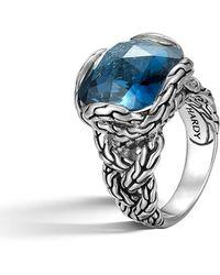 John Hardy - Classic Chain Braided London Blue Topaz Ring - Lyst