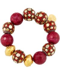 Devon Leigh - Mixed Red Bead Bracelet - Lyst