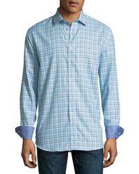 Bugatchi - Classic-fit Grid-stripe Sport Shirt - Lyst