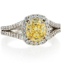 Fantasia by Deserio - Split-shank Pave Cushion-cut Ring - Lyst