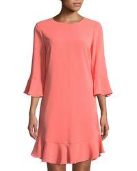 Cece by Cynthia Steffe - 3/4-sleeve Ruffle-hem Shift Dress - Lyst