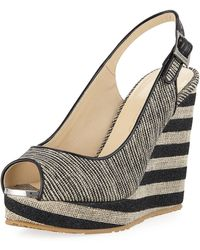 Jimmy Choo - Prova Mixed Striped Wedge Sandals - Lyst