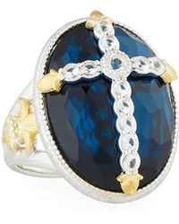 Jude Frances - Oval Quartz & Pyrite Cocktail Ring W/ Pave Fleur Cross - Lyst