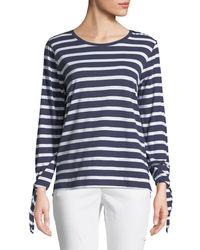 Joan Vass - Tie-sleeve Nautical-stripe Tee - Lyst