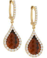 Roberto Coin | 18k Cognac Quartz & Diamond Teardrop Earrings | Lyst