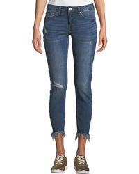 Dex - Mid-rise Shredded-hem Ankle Skinny Jeans - Lyst