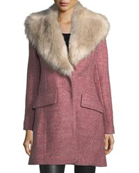Belle By Badgley Mischka - Holly Leopard-print Coat W/ Faux-fur Collar - Lyst
